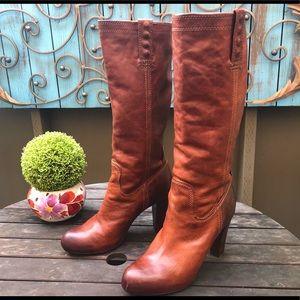 Frye Miranda stud tan pull on heeled tall boots